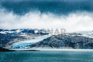 Glacier In Norway, Beautiful Landscape With Cold Cloudy Sky