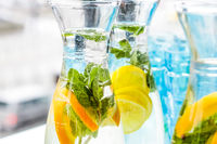 Fruit-flavoured water or soda drink served at charity event, holiday background banner for luxury brand design