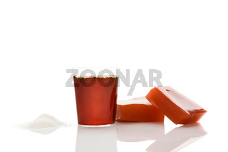 Collagen drink, powder and jelly isolated on white background.