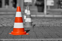 Colorkey, Traffic cone at a construction site in Swinoujscie in Poland