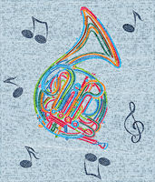 Mosaic tile french horn