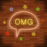 OMG Neon Light. Orange Brick Wall Background. Colorful Starry Pattern with Cartoon Speech Bubble