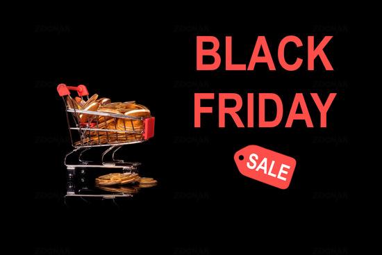 Black Friday sale mockup or background with shopping cart filled with gold coins