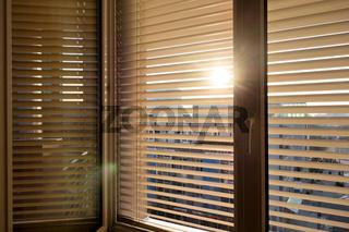 Jalousien als Sonnenschutz am Fenster