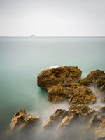 Adriatic oceon seascape long exposure with island