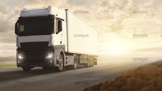 Adventure scene with trucks at full speed, in spectacular scenery with sun above the wide horizon.