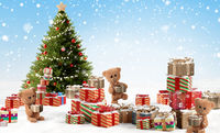 concept of Christmas. cute teddy bears and many christmas presents 3d-illustration background