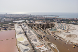 Panoramic aerial view of Torrevieja salt production factory . Spain