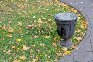 Street waste bin in city park