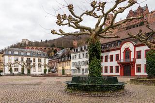 Central Market Square, Karlsplatz with Heidelberg Castle in City Heidelberg, Baden-Wuerttemberg, Germany. Europe