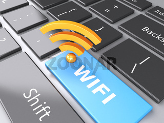 wifi button on computer keyboard. 3d illustration
