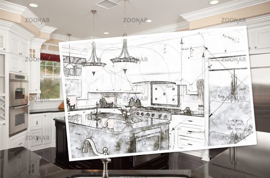 Beautiful Custom Kitchen Design Drawing On Paper Over Finished Photograph