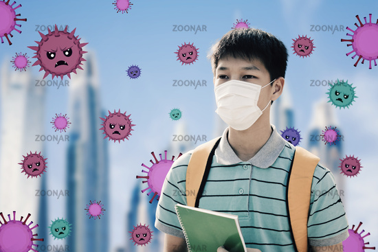 stressed teenager student wearing Protection Mask against flu virus  background