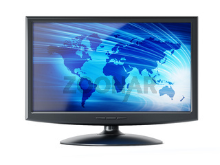 Computer monitor with blue earth background on the screen