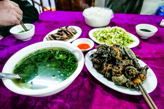 typical Vietnamese food and regional healthy dishes with fresh vegetables