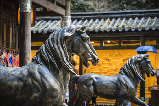 Horse statues in Wulong National Park