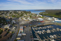 It's a beautiful day over the Marina boats and harbor on Kodiak Island