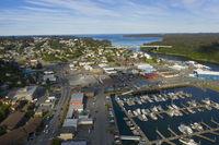 It's a beautiful day over the Marina boats and harbor on Kodiak Island