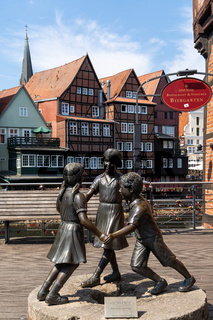 view of the 'Life is beautiful' sculpture in the historic city center of Lunenburg