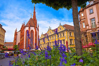 Old town of Wurzburg church and square architecture view