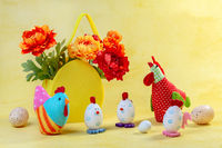 Funny Easter decor and a basket of flowers.