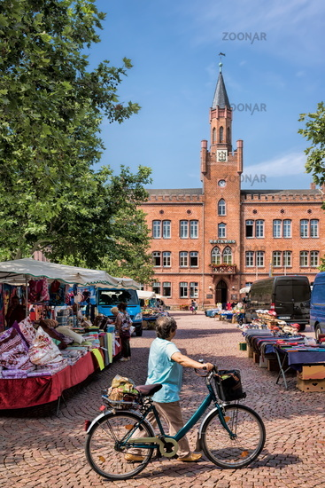 bitterfeld, germany - 19.06.2019 - weekly market on the town hall square