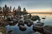 lake tahoe sunset landscape nevada side