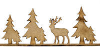 Cut out deer figure made of wood with dark edges and wooden fir trees isolated on white