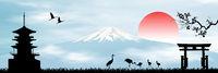 Early morning in Japan mount Fuji