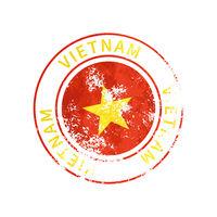 Vietnam sign, vintage grunge imprint with flag on white