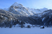 Mount Spitzhorn and Sanetsch mountain pass in winter.