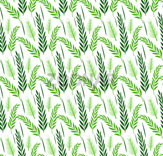 Grass plants seamless pattern. Sukkot green repeating, endless background. Vector illustration