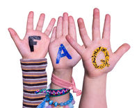 Children Hands Building Word FAQ, Isolated Background