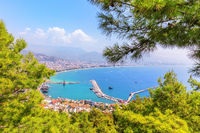 Pier of Alanya, view from the green hill near the Alanya Castle, Turkey