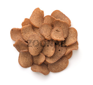 Top view of rye bread chips