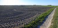 Landschaft mit frisch bearbeitem Acker mit Traktorspuren