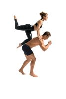 Young couple in sportswear training isolated shot
