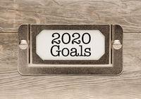 2020 Goals Metal File Cabinet Label Frame on Wood