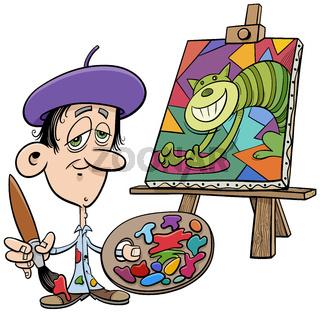 cartoon painter artist comic character