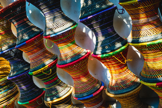 Colourful wicker stools in Nepal