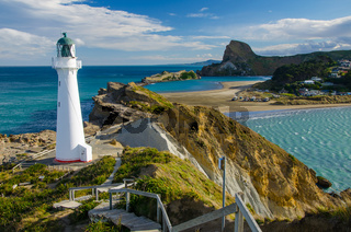 Castle Point Lighthouse in Wairarapa, New Zealand, during Golden Hour