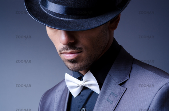 Businessman in old style hat