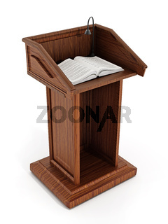 Lectern with open pages
