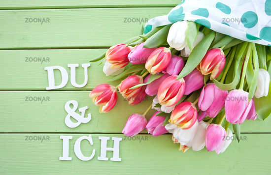 Colorful tulips on green background