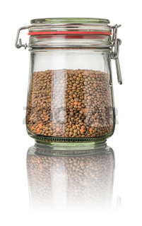Brown lentils in a jar