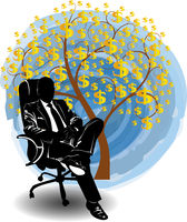 Silhouette of a man in a business suit sitting near the money tree