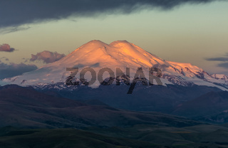 Elbrus at sunrise in Caucasus mountains