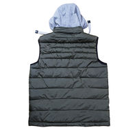 Back view of vest with a hood isolated on the white background, green vest top view on a white background. A warm green waistcoat is on white.