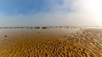 A panorama landscape of fog lifting over an endless wadden sea beach at low tide