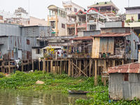 Houses along the Mekong River - Chau Doc